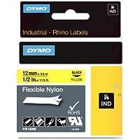 DYMO Rhino Flexible Industrial Nylon Label, 12mm, Black/Yellow