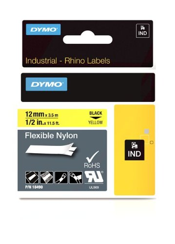 DYMO Industrial Labels for DYMO Industrial RhinoPro Label Makers, Black on Yellow, 1/2