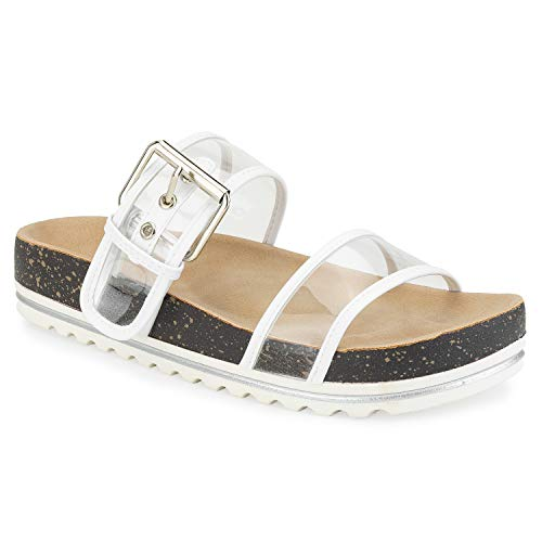 omen's Double Clear Band White Lugged Sole Footbed Slides Sandals White Size.8 ()