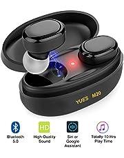 YUES M20 Auriculares con Bluetooth 5.0, Mini Estéreo 3D Inalámbricos Micrófono, hasta 10 Horas de Juego con Estuche de Carga,Compatible con Teléfonos iPhone y Android