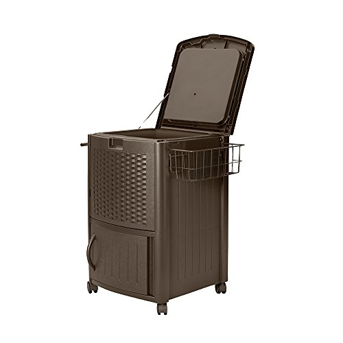 (Suncast Resin Wicker Outdoor Cooler with Wheels - Portable Outdoor Bar Cart to Store Ice, Drinks, and Frozen Treats - Store on Deck or Patio - Java)
