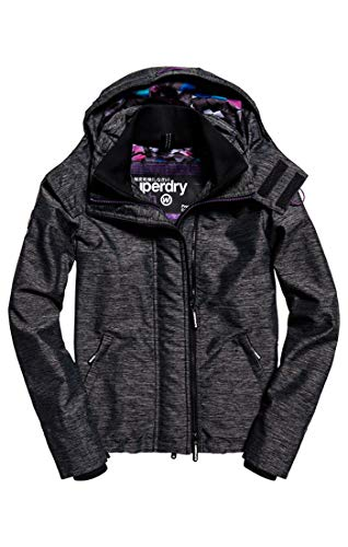 Zip Superdry Nero Donna Hooded Giacca Xd7 Print black Windc Technical Pop Mesh geo Marl qHw10rtH