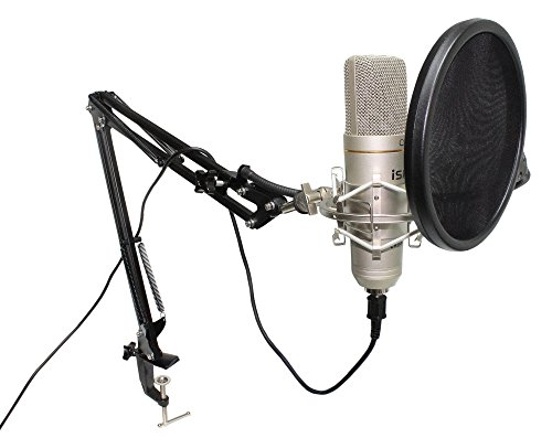 Usb Quality High (iSK CRU-1 USB Cardioid Studio Condenser Microphone with Scissor-Arm Desk Mount Stand, Shockmount, Dual-Mesh Pop Filter & USB Cable)