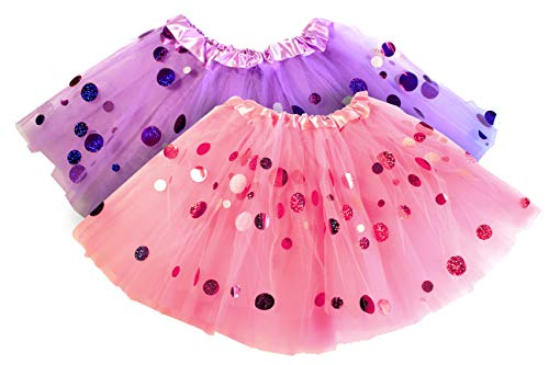 (Polka Dot Tutu for Girls - Glitter Pink & Purple Set - 2 Tulle Tutus Skirt - Birthday Gift, Ballet, Dress Up, Princess Party)