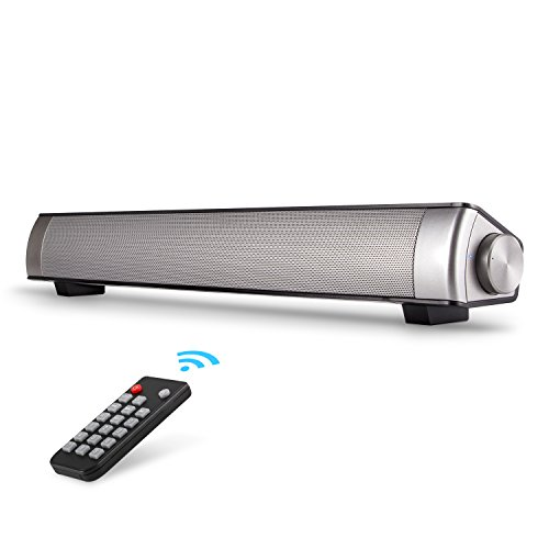 Sound Bar, Bluetooth Surround Sound Bar Speaker TV Soundbar Wired and Wireless for TV/PC/Tablet/Smartphone (Included 3.5mm Audio Cable, Dual Connection Methods, Remote Control)