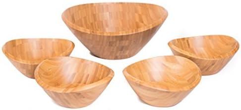 Fruit Kit 5 count Wooden Stackable bowls for Salad Pasta BirdRock Home Bamboo Salad Bowl Set