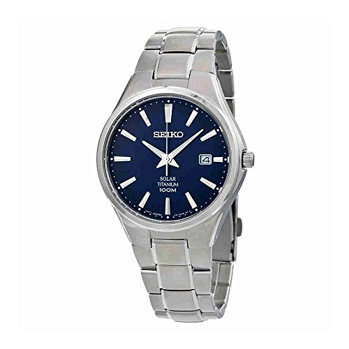 Seiko Men's SNE381 Titanium Watch with Blue Dial