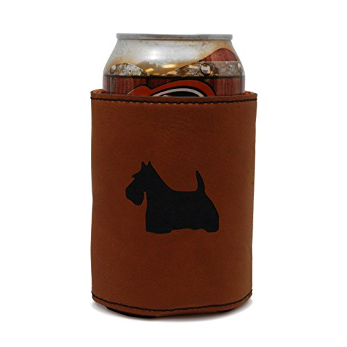 Scottish Beer (MODERN GOODS SHOP Leather Beer Coozie With Scottish Terrier Engraving - Oil, Stain And Water Resistant Beer Hugger - Standard Size Beer And Soda Can Sleeve)