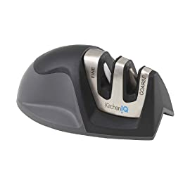 Kitchen IQ Edge Grip 2 Stage Knife Sharpener 9 Coarse for dull and damaged knives Fine for polishing the knife and for quick touch-ups for an already sharp knife Patented Edge Grip feature allows sharpening on the edge of the table or counter top- prevents the tip of larger knives from dragging over the surface of the counter