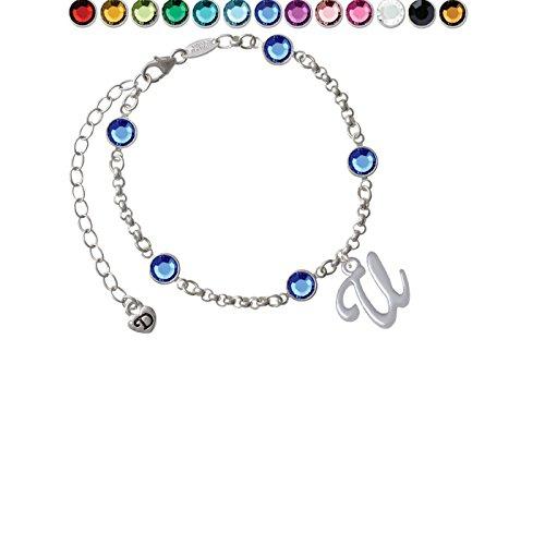 Team Name Script Bracelet - Small Gelato Script Initial - U - Custom Crystal Color Fiona Charm Bracelet