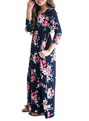 MITILLY Girls Flower 3/4 Sleeve Pleated Casual Swing Long Maxi Dress With Pockets 6 Years Dark Blue