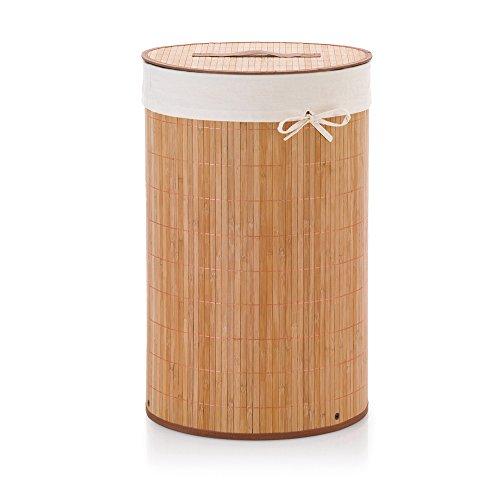 KELA 20983, Wäschekorb, Rund, 63 cm Höhe, Bambus, Mila, Natur, 420983