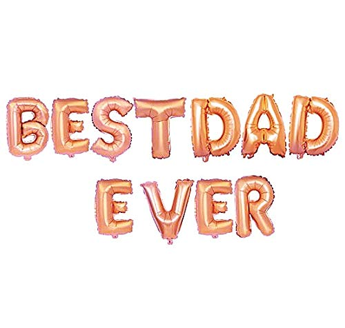 Happy Father's Day Best Dad Ever Aluminum Foil Balloon Set 16 Inches Letter Balloon Decoration for Farther's Day Party (Rose ()