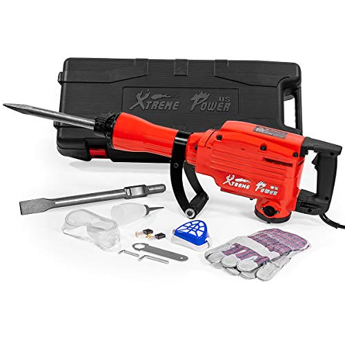 XtremepowerUS 2200Watt Heavy Duty Electric Demolition Jack hammer Concrete Breaker W/Case, - Kit X-square Handle