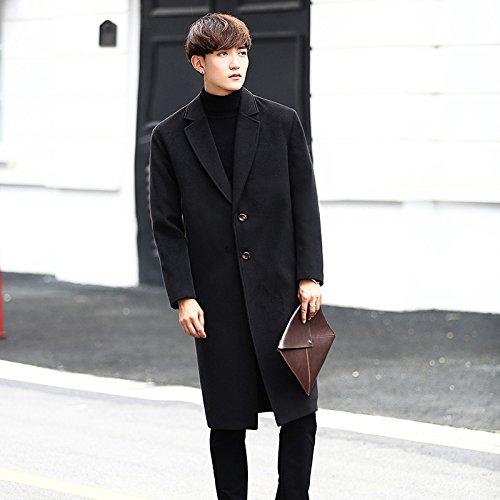 Mediados de abrigo largo, una cara hombre abrigo largo, estilo coreano abrigo, el otoño y el invierno largo impermeable,Black,4XL