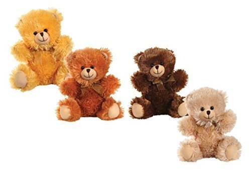 4 Teddy Bear (Plush Sitting Teddy Bears 10 Inches 4 Color Set Stuffed Animals Cuddly Soft Toys)