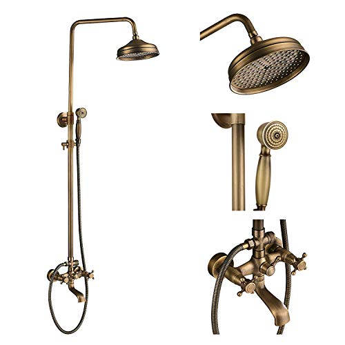 Antique Brass Wall Mounted Bathroom 8-inch Rainfall Shower Kit Tub Mixer Tap with Hand Sprayer Shower Faucets Complete Set Shower Units