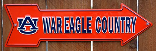NCAA University of Auburn AU Tigers War Eagle Country Embossed Metal Arrow (Tigers Hanging Sign)