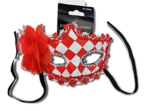 Red & White Checkered Masquerade Mask w/Flower; Party, Costume Ball, New Years Eve, Mardi Gras, Halloween, Harlequin Mask -