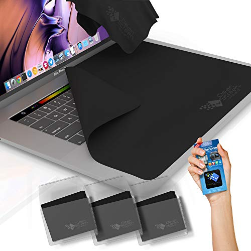 Clean Screen Wizard Microfiber Keyboard Covers Cloths, Screen Protector Cleaner Kit, and Sticker Screen Cleaning for MacBook Pro 13, MacBook Air 13, 13in Laptops, Bundle 4 Pack, Black (Best Way To Clean Your Macbook Screen)
