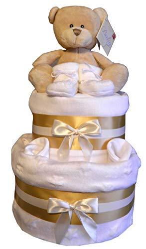 Unisexe Gâteau de Couches Blanc Star & or Design Bébé Bundles Ourson Jouet Bébé Bundles Ourson, Blanc Couverture, Mitaines & Bottines Mousseline Cadeau Fête de Naissance Bébé Greens & Co