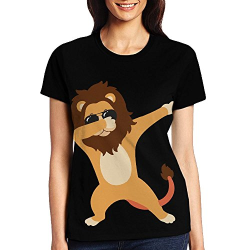 Dabbing Lion With Sunglasses Womens Custom Printed Funny Short Sleeve - Custom Printed Sunglasses