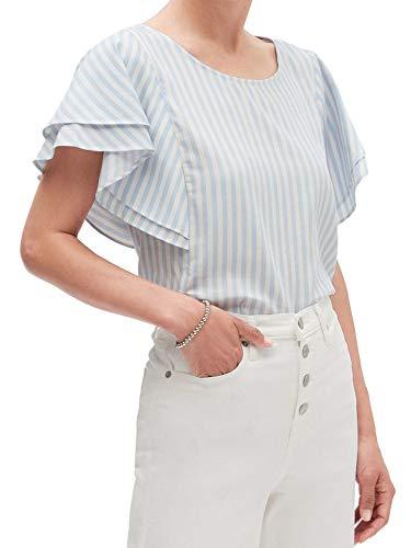 Banana Republic Womens Ruffled Sleeve Blouse Top Light Blue White Striped (Medium)