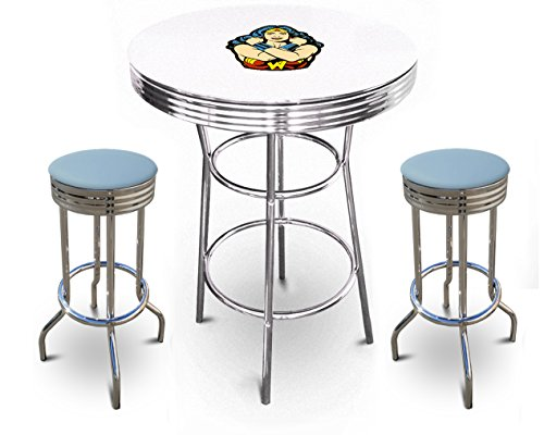 The Furniture Cove New 3 Piece Wonder Woman Metal Bar Table Set with Black or White Top and 2 Bar Stools with Your Choice of Seat Cushion Vinyl Color (White Table, Baby Blue Vinyl)