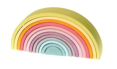 Extra Large 12-Piece Rainbow Tunnel Stacker Toy in Pastel Colors - Wooden Nesting Puzzle for Creative Sculpture (Linden 12 Piece)