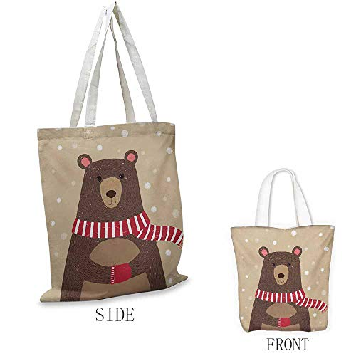 Doodle Washable shopping bag Cute Bear Wearing Red Scarf under Snow Winter Cold Weather Kids Playroom Print Handmade shopping bags W15.75 x L17.71 Inch Brown Sand Brown