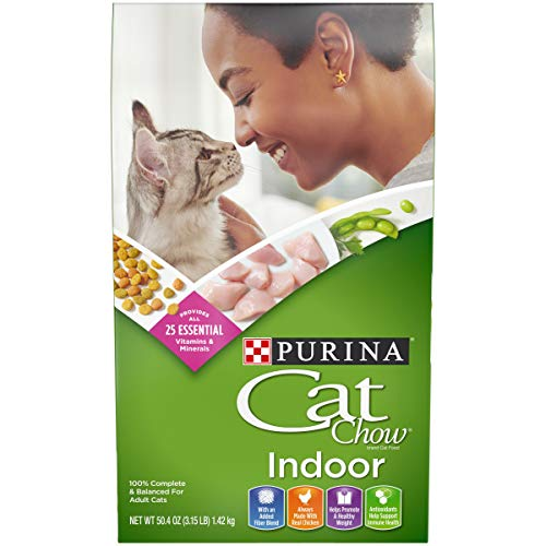 Purina Cat Chow Hairball, Healthy Weight, Indoor Dry Cat Food, Indoor – (4) 3.15 lb. Bags