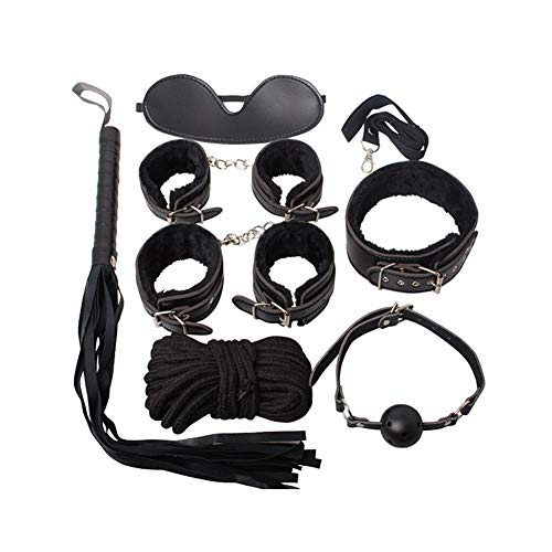 Mrshen 7 Pieces Sexxxx Clothing Intimate Clothing Between Husband and Wife Master Servant Clothing Women Hot Suit PU Leather Kit for Cosplay Restraints Clothes - Leather Black Intimate Womens