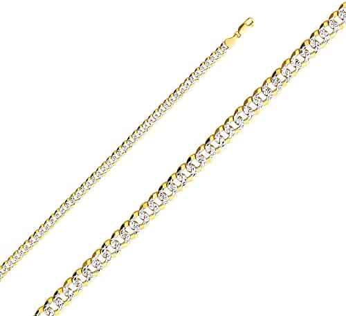 Wellingsale 14k Yellow Gold SOLID 5.5mm Polished Cuban White Pave Diamond Cut Chain Necklace