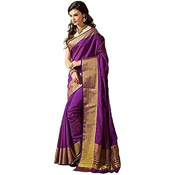 0c45114b399dcb Shree Designer Sarees Women's Purple Kanchipuram Saree with Double  Unstitched Blouse