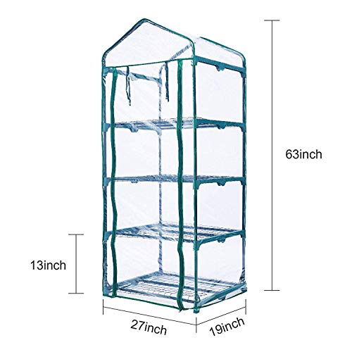 Portable 4-Tier Shelves Mini Greenhouse w/ Removable Wheels Warm Commercial PVC Cover Indoor Outdoor Clear Greenhouse Plant Flower Grow Tent Double Zipper Roll Up Front 27 in. L x 19 in. W x 63 in. H by Homes Garden (Image #1)