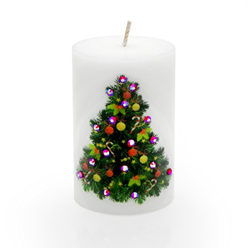 Christmas Candles by Sam & Wishbone. Home Decorations Luxury Pillar Candle. Our Candles Will Make Your Holidays Merry and Bright. (Christmas Tree) (Merry Christmas Candle)