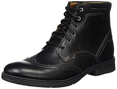 Clarks Devington, Botines para Hombre, Negro (Black Smooth Leather), 41 EU