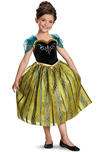 [Disguise Disney's Frozen Anna Coronation Gown Deluxe Girls Costume, X-Small/3T-4T] (Epic Halloween Costumes For Men)