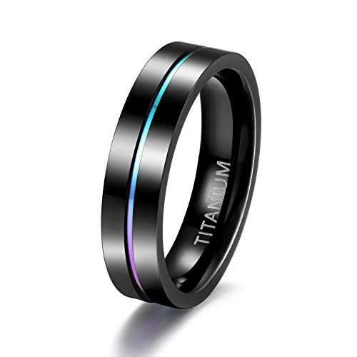 TIGRADE 5mm/7mm Rainbow Titanium Ring Colorful Thin Groove Wedding Band High Polished Black Couple Rings Size 5-11 (5MM, 4)