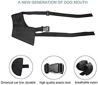 L, Blue Biting and Chewing Medium and Large Extra Dogs ILEPARK Overhead Strap Dog Muzzle Adjustable Suit for Small Prevent Taking off