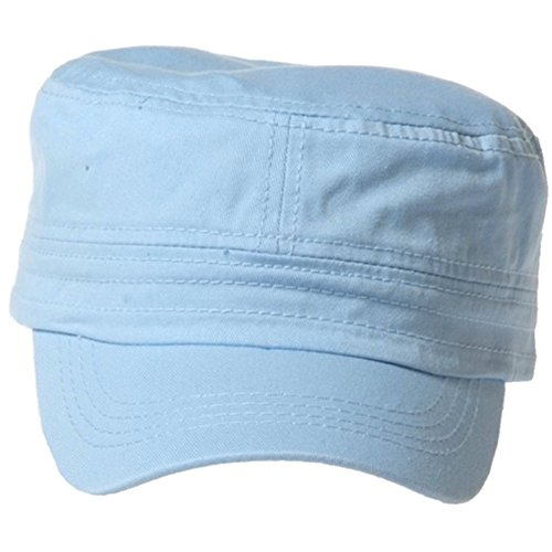 QML CADET Cotton adjustable Twill Cap ( 2 STYLES, 35 COLORS ) (1 TYPE, SKY BLUE) - Sky Type