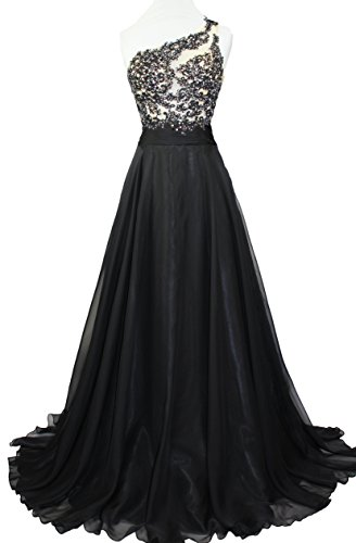 Meier Women's One Shoulder Lace Sheer Top Prom Pageant Formal Dress Black-6