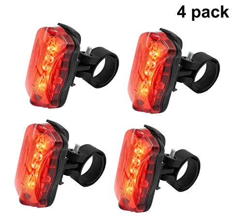GIANCOMICS 4pcs Waterproof LED Bike Tail Lignt Bike Cycling Flashing Rear Light with 5 LED Safety Warning Lamp