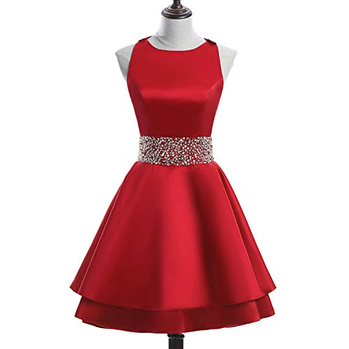 MEILISAY Womens Crew Beading Prom Dresses Short Sequiuned Homecoming Dresses Mini Cocktail Dresses Red,10