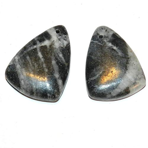 Bead Jewelry Making P2152 Picasso Marble 26mm Top-Drilled Triangle 2-Piece Gemstone Pendant Bead Set