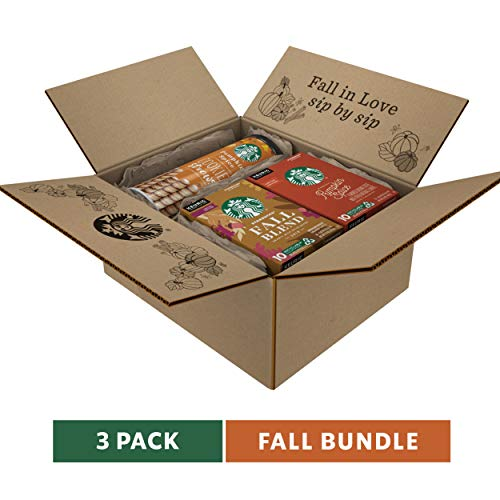 Starbucks Fall Bundle | 10 Fall Blend Medium Roast Coffee K-Cup Pods, 10 Pumpkin Spice Flavored Coffee K-Cup Pods and 20 Pumpkin Spice Cookie Straws | Limited Edition, Bundle Pack