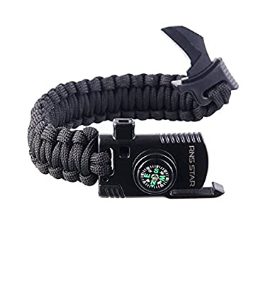 RNS STAR Paracord Survival Bracelet 500 LB - Hiking Gear Travelling Camping Gear Kit - Parachute Rope Bracelet,Compass Stone,Stainless Fire Scrapper,Flint Fire Starter,Survival Knife,Whistle from RNS STAR