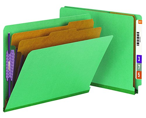 "Smead End Tab Pressboard Classification Folder with SafeSHIELD Fasteners, 2 Dividers, 2"" Expansion, Letter, Green, 10 per Box  (26785)"