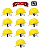 Safety Helmet Hard Hat Head Protection Outdoor Work Head Safety Helmet With ISI Mark Yellow (Set of 10)