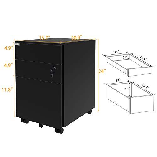 AIMEZO - Archivador de pedestal con 3 cajones corredizos, de metal, con cerradura y 5 ruedas giratorias: Amazon.es: Oficina y papelería